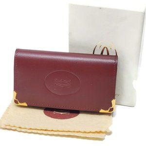 100% Auth Cartier 6 Key Ring Leather Case Bordeaux